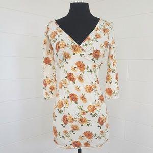 Floral Spring Summer V neck Wrap Dress
